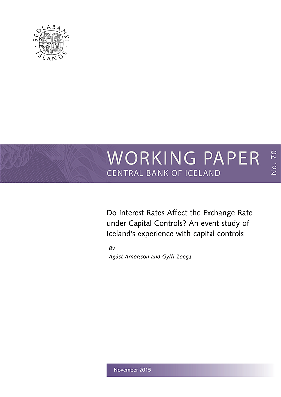 Cover of Working Paper no. 70